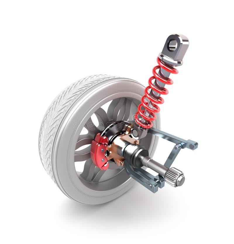 De stootkussens van het wiel, van de schokbreker en van de rem vector illustratie