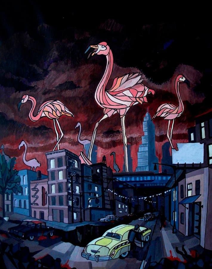 de stora flamingo i staden Konstillustration vektor illustrationer
