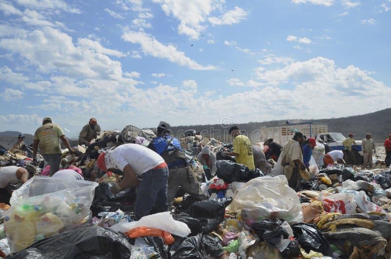 De stortplaatsbewoners zoeken naar voedsel, recycleerbare voorwerpen, en punten voor bestaan royalty-vrije stock foto's