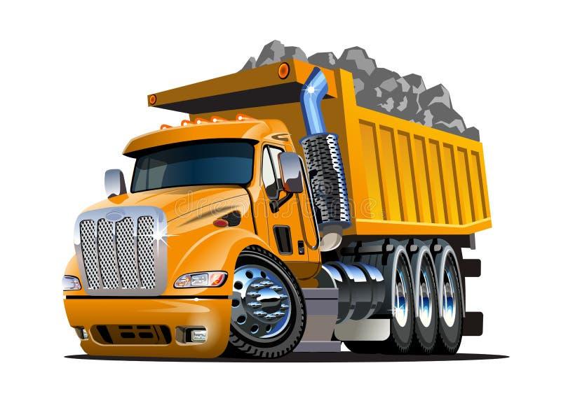 De stortplaatsvrachtwagen van het beeldverhaal die op wit wordt geïsoleerde royalty-vrije illustratie