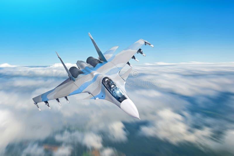 De straal van de gevechtsvechter op een militaire opdracht met wapens - de raketten, bommen, wapens op vleugels vliegt hoog motie royalty-vrije stock fotografie