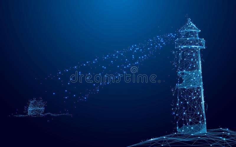 De straal van het vuurtorenzoeklicht door Jacht in het overzees van lijnen en driehoeken, punt verbindend netwerk op blauwe achte vector illustratie