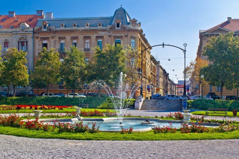 De straat en het parkscène van Zagreb royalty-vrije stock foto's