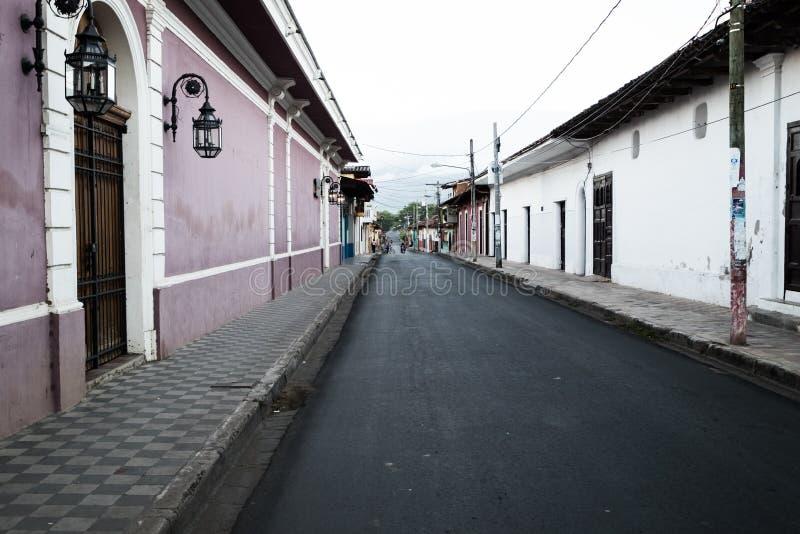 De Straat Kleurrijke Gebouwen van Granada Nicaragua stock afbeelding