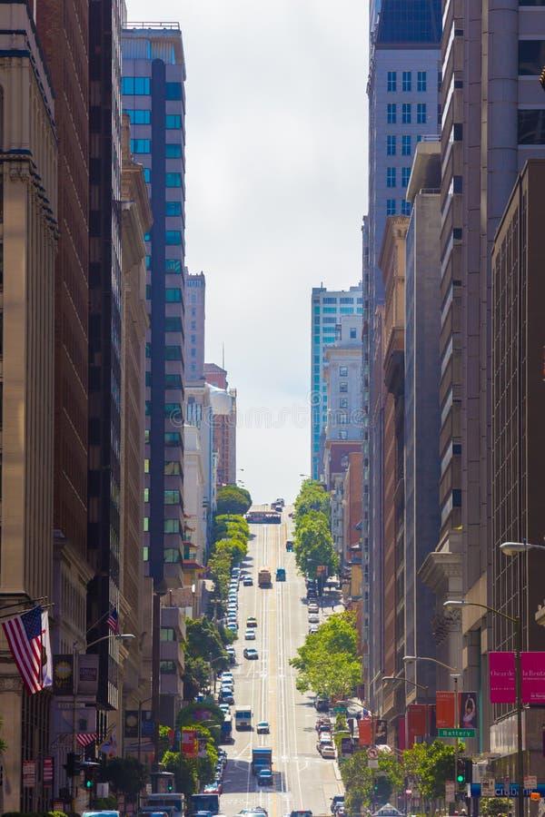 De Straat San Francisco Financial District van Californië stock afbeeldingen