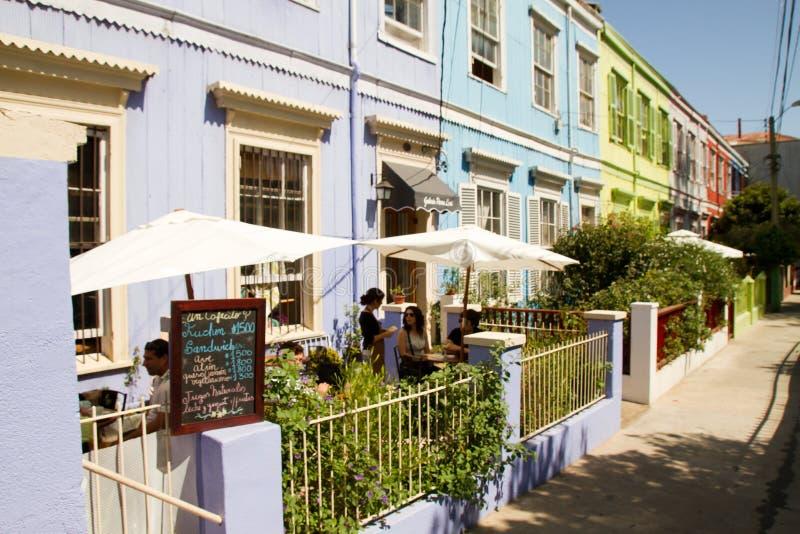De Straat Valparaiso van koffiewinkels stock foto