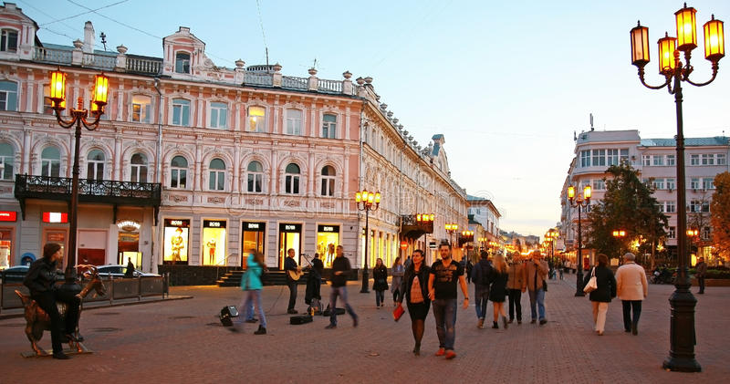 De straat van avondbolshaya Pokrovskaya royalty-vrije stock foto's