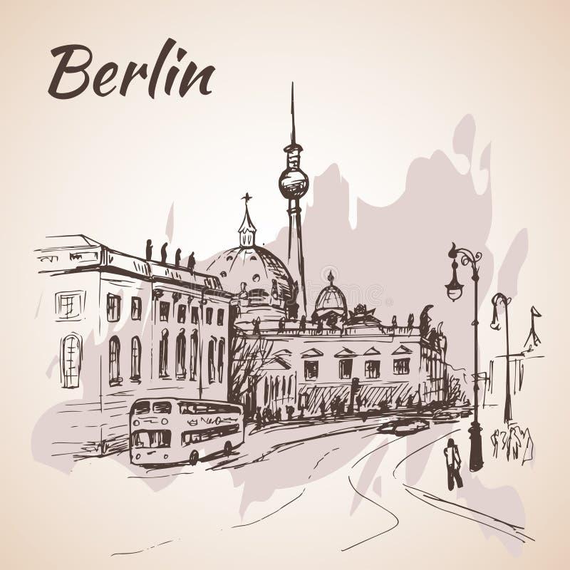 De straat van Berlijn met bussen en de Toren van TV van Berlijn royalty-vrije illustratie