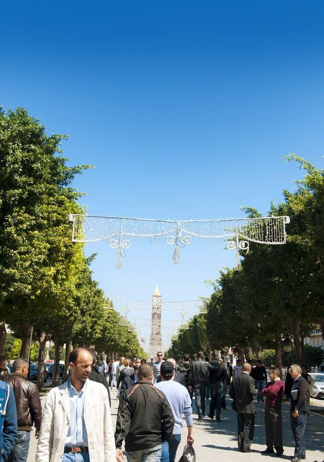 De Straat van Bourguiba van Habib, Tunis stock foto's