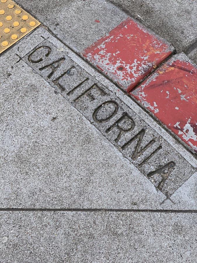 De Straat van Californië die in Stoep wordt gestempeld stock afbeelding