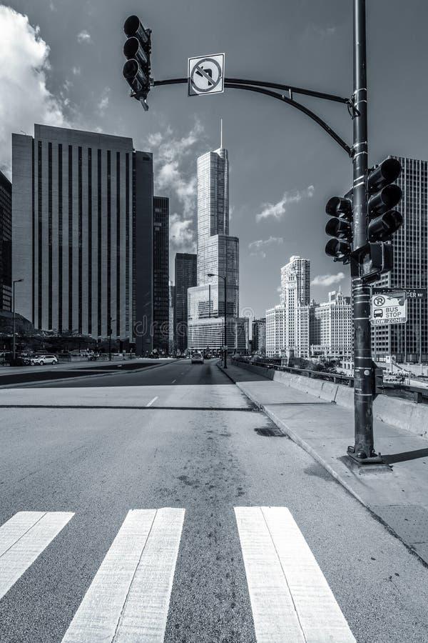 De straat van Chicago blach en wit stock foto