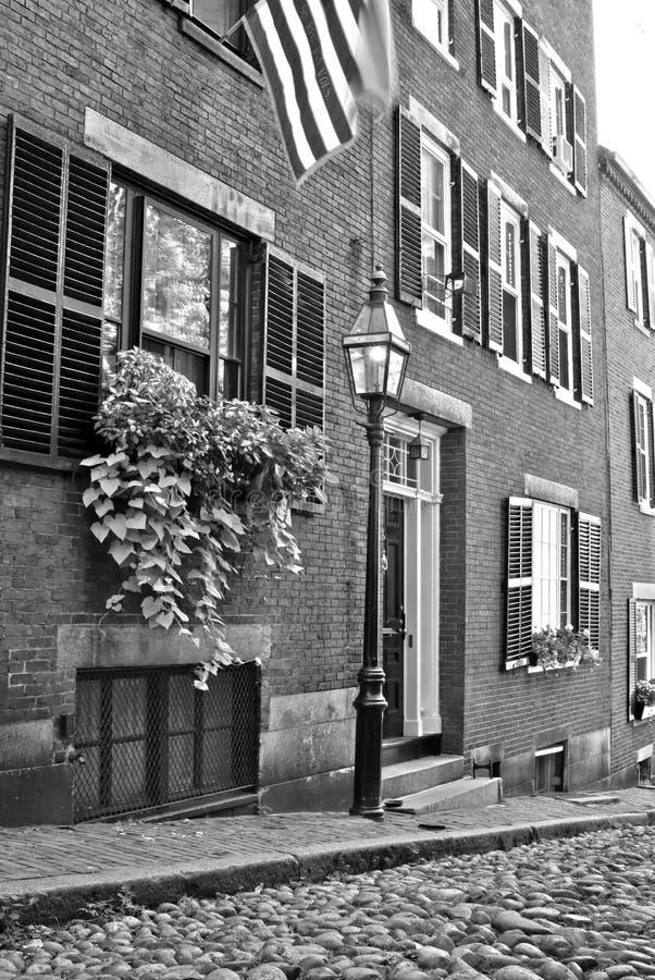 De straat van de eikel met vlag royalty-vrije stock foto