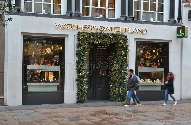 De Straat van de opslagoxford van horlogeszwitserland royalty-vrije stock foto's