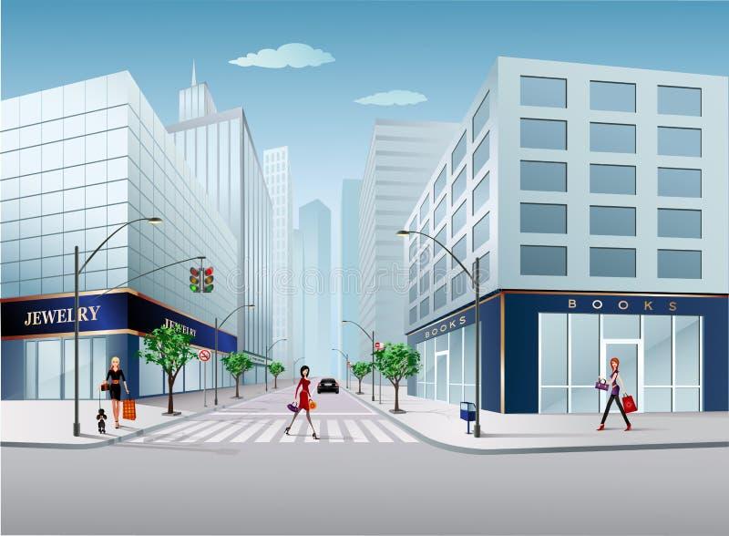 De straat van de stad royalty-vrije illustratie
