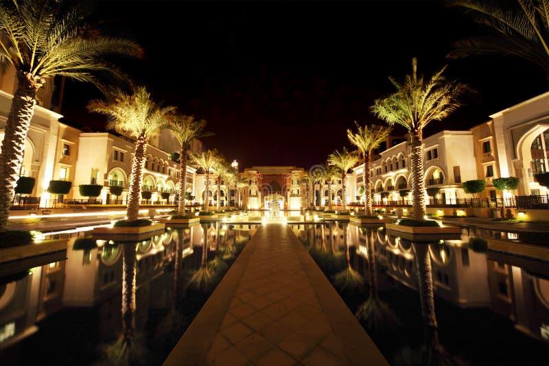 De straat van Doubai van de nacht met palmen en pool stock afbeelding
