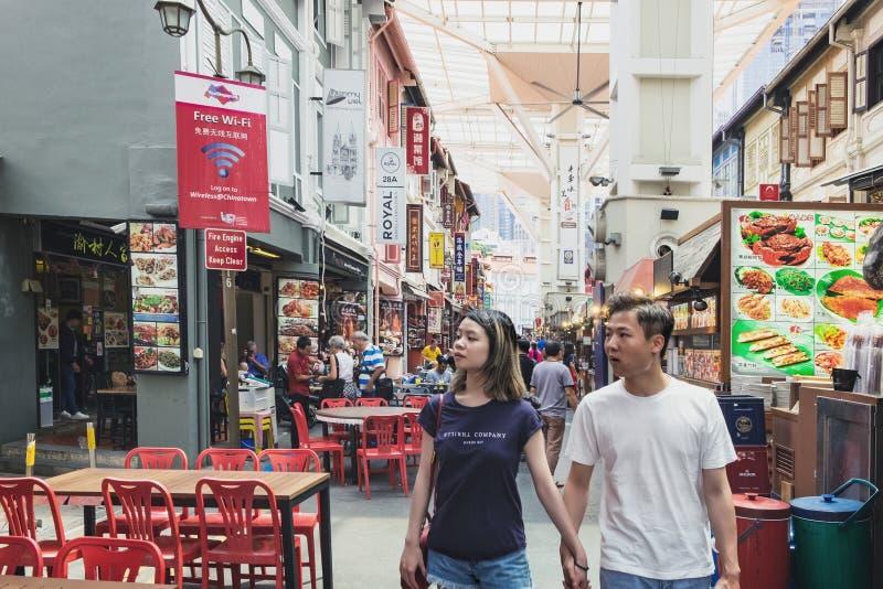 De straat van het Chinatownvoedsel in Singapore stock fotografie