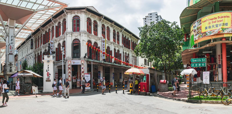 De straat van het Chinatownvoedsel in Singapore royalty-vrije stock afbeelding