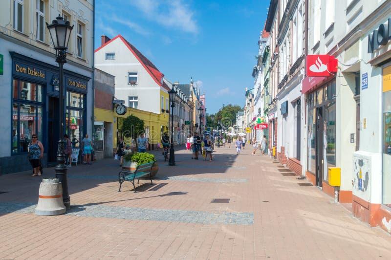 De straat van Johannes III Sobieski in oude stad van Wejherowo stock foto's