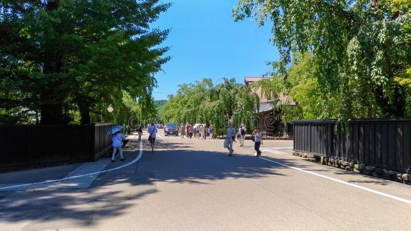 De Straat van Kakunodatebukeyashiki Kakunodate is beroemd door Bukeyashiki (samoeraienwoonplaatsen) royalty-vrije stock afbeeldingen