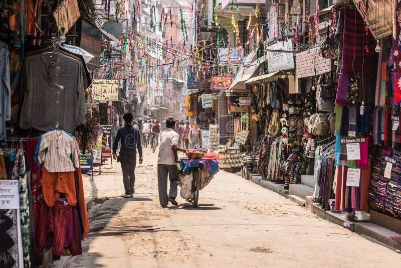 De straat van Katmandu, toeristendistrict nepal royalty-vrije stock fotografie