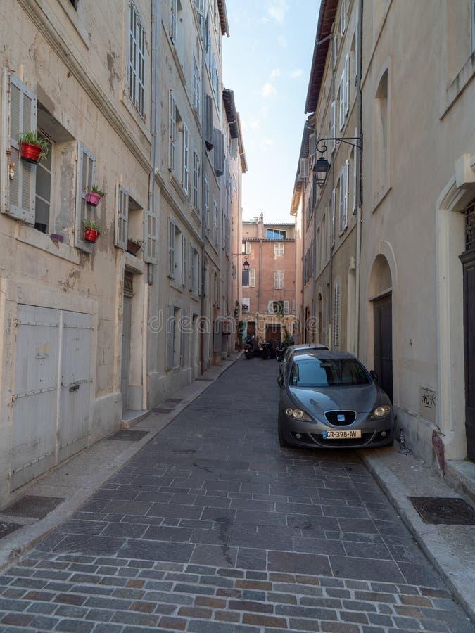De straat van le Rue de Timon, Marseille royalty-vrije stock afbeeldingen