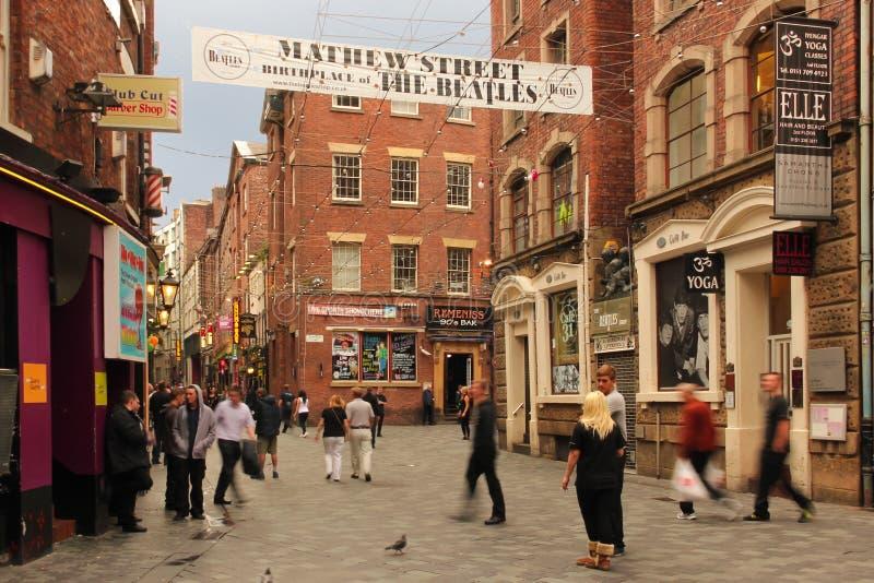 De straat van Mathew. Geboorteplaats van Beatles. Liverpool. Engeland stock foto