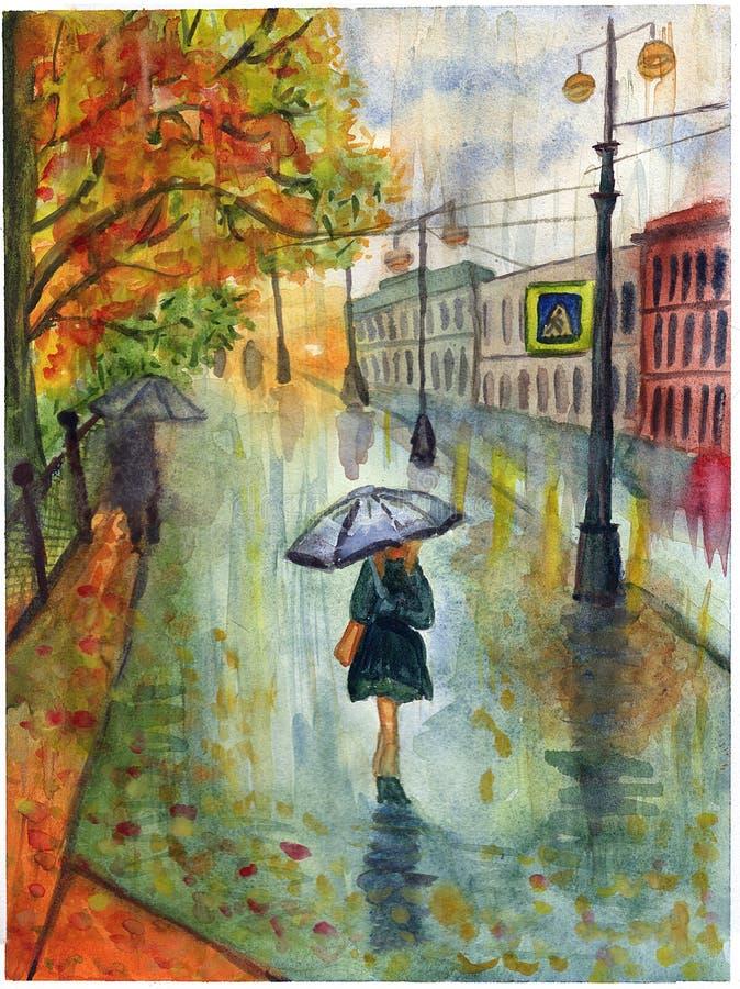 De straat van de regenstad huisvest de waterverf van het de herfstlandschap van het boompark vector illustratie