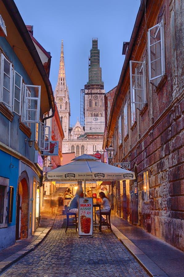 De straat van Skalinska, Zagreb royalty-vrije stock foto