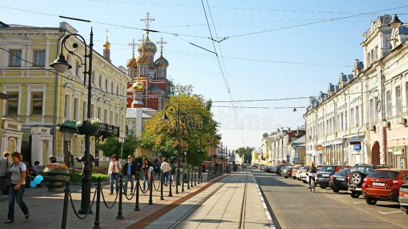 De Straat van verjaardagsrozhdestvenskaya in Nizhny Novgorod royalty-vrije stock afbeeldingen