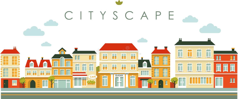 De straatachtergrond van het stadspanorama in vlakke stijl vector illustratie