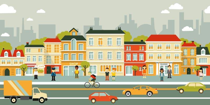 De straatachtergrond van het stadspanorama in vlakke stijl stock illustratie