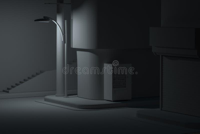 De straathoek van een stad, met een automaat door de weg bij nacht, het 3d teruggeven vector illustratie