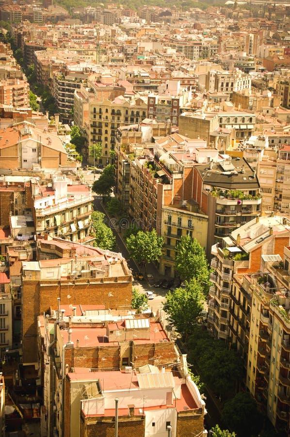 De straatmening van Barcelona van hierboven zonnig europa stock fotografie