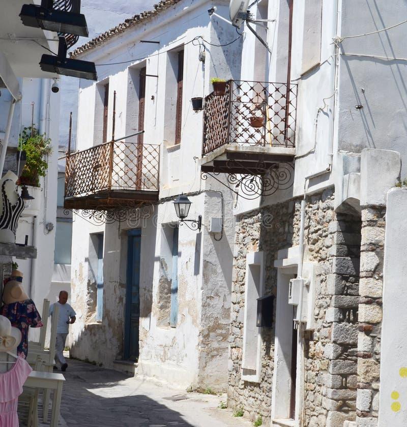 De Straatmening van het Skiathos Griekse Eiland stock fotografie
