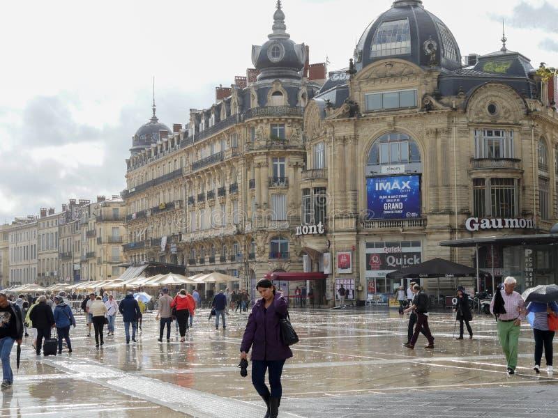 De straatscène van Montpellier, Frankrijk stock foto