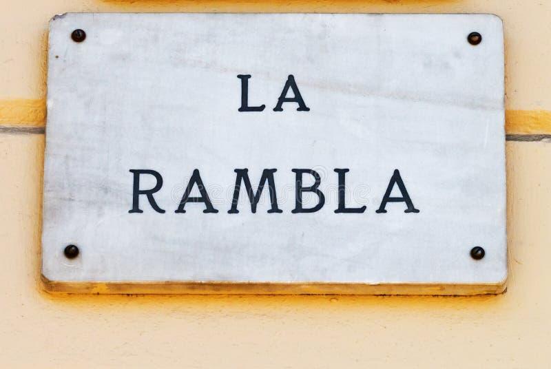 De straatteken van La Rambla in Barcelona stock foto's