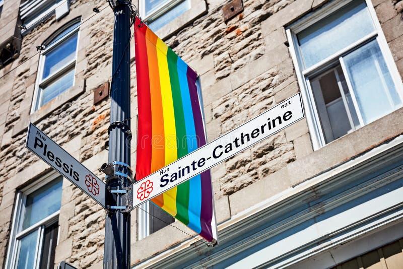 De straatteken van Saintecatherine en een vlag van de regenboog vrolijke trots royalty-vrije stock fotografie