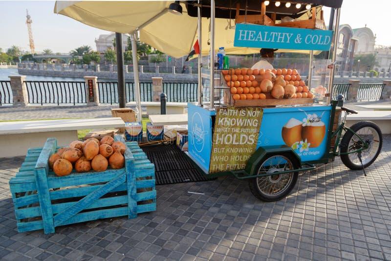 De straatventer verkoopt verse sinaasappelen en kokosnoot gebruikend een mobiele fietskar stock fotografie
