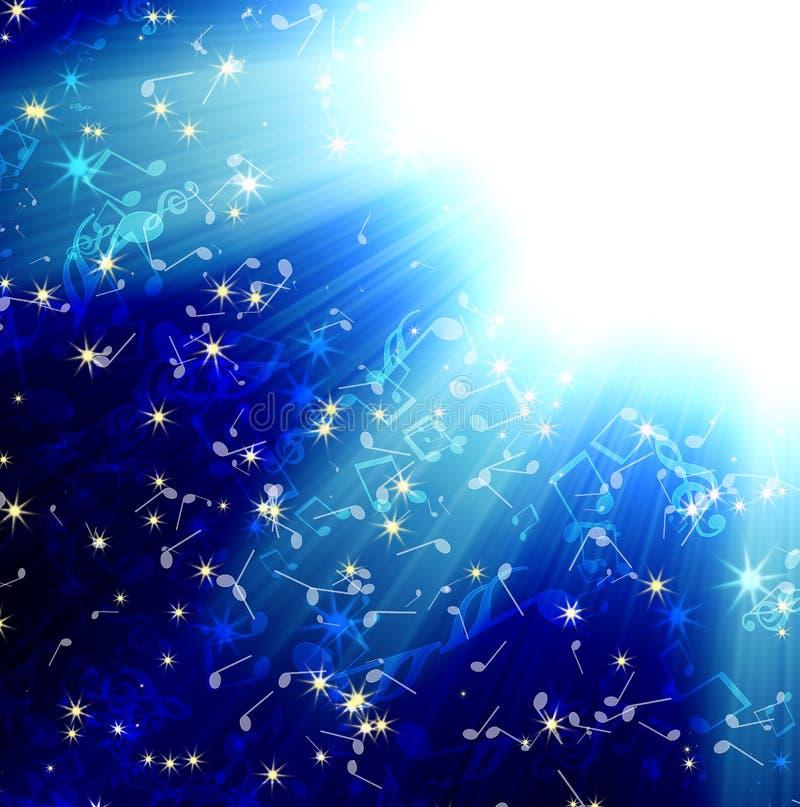 De stralen van de zon op een blauwe donkere hemel met muzieknota's vector illustratie