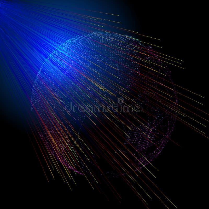 De straling doordringt de bol van lichtgevende wereld die uit punten wordt samengesteld, betekenend globalisering, internationali stock illustratie