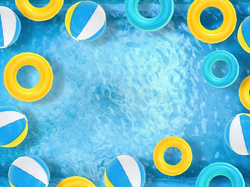 De strandballen en zwemmen ringen die op pool drijven royalty-vrije stock afbeelding