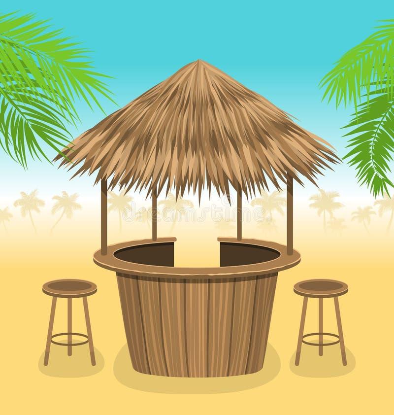 De strandbar met stro bedekt Openluchtachtergrond met Zitkamerkoffie royalty-vrije illustratie