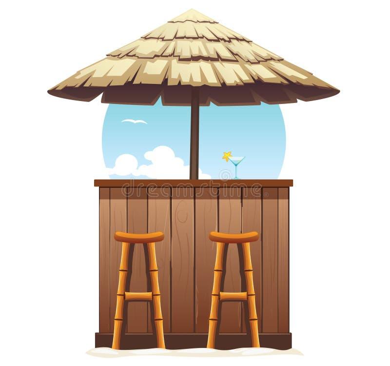 De strandbar met stro bedekt Uitstekende Geïsoleerde Zitkamerkoffie royalty-vrije illustratie