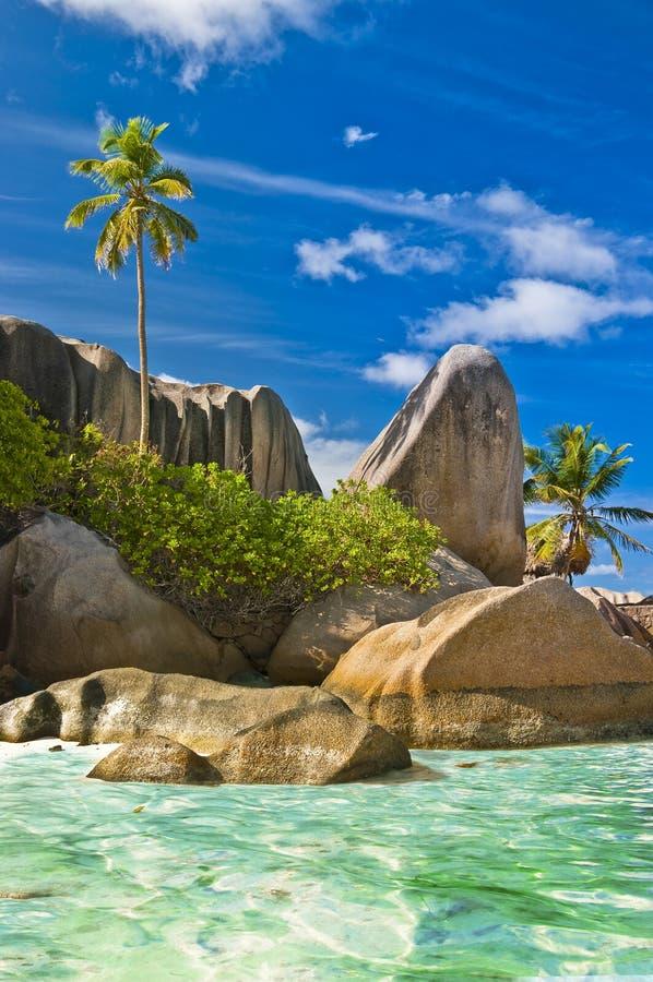De stranden van Seychellen royalty-vrije stock foto