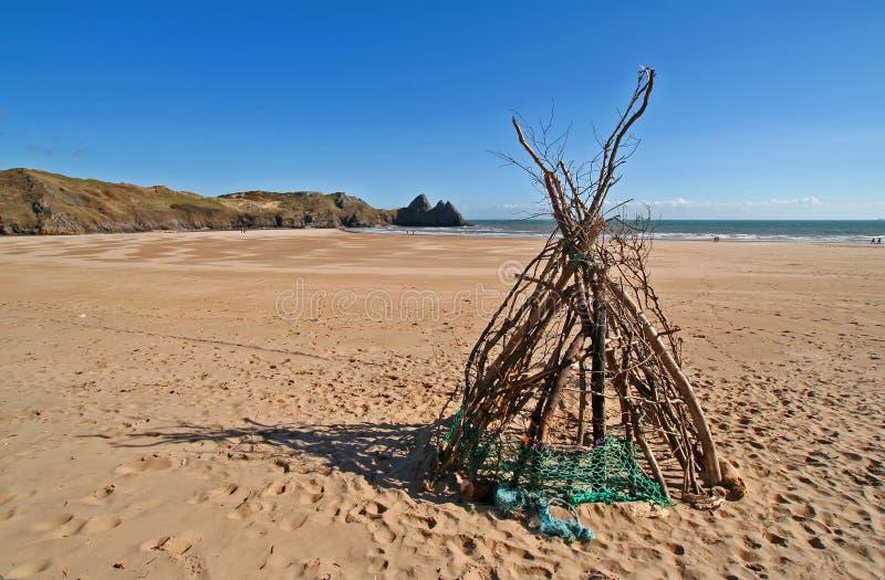 De strandhut stock afbeeldingen