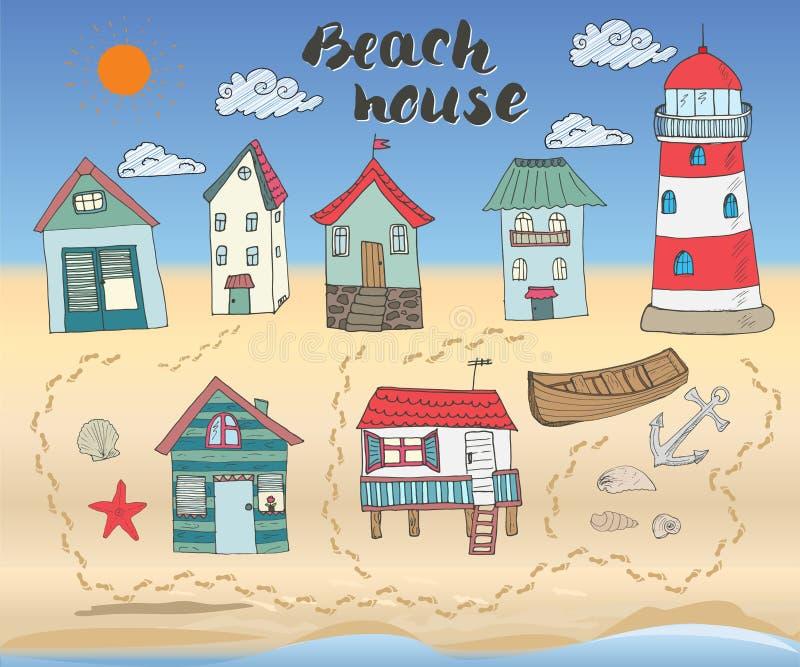 De strandhutten en de bungalowwen, de hand getrokken krabbel van de overzichtskleur plaatsen met licht huis houten boot en anker, vector illustratie