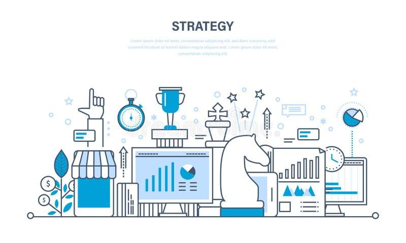 De strategie en de planning, analysecontrole, statistische statistieken, analyseren royalty-vrije illustratie