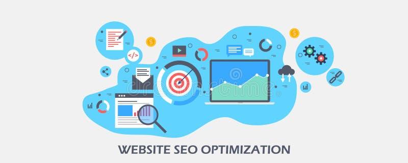 De strategie van de websiteoptimalisering voor zoekmachinegebruikers, de optimalisering van de Webinhoud voor hoger onderzoek die royalty-vrije illustratie