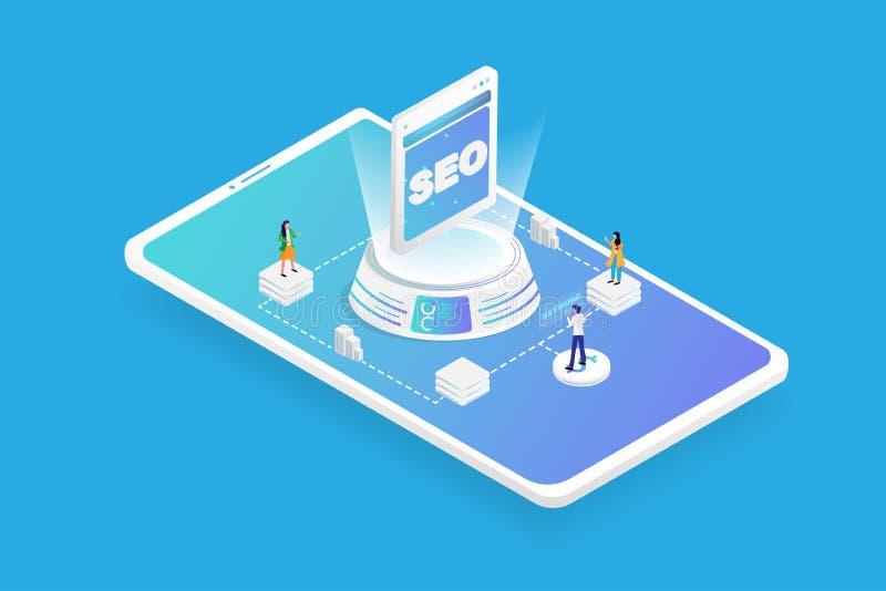 De strategieconcept van de zoekmachineoptimalisering Isometrische 3D futuristische digitaal gaat sleutelwoord aan SEO-technologie stock illustratie