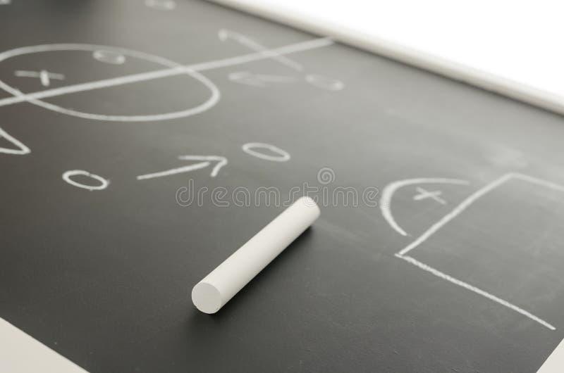De strategieplan van het voetbal op een bord stock afbeelding